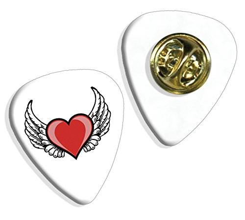 Live Performance Angel Wings Love Heart Logo Guitarra Pick Badge Placa (GD)
