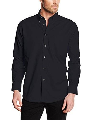 Fruit of the Loom Oxford - Camisa Hombre, Negro (Schwarz - Schwarz), Small