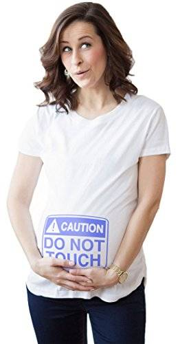 Crazy Dog T-Shirts Crazy Dog TShirts - Maternity Do Not Touch The Belly Funny T shirts Pregnancy Tees for Women (White) S - Camiseta De Maternidad