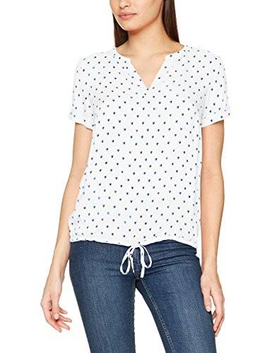 Tom Tailor Lovely Print Blousetop, Blusa para Mujer, Marfil (Whisper White 8210), 46 (Talla del Fabricante: 44)