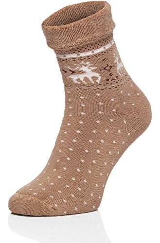Merry Style Mujer Felpa Calcetines Calientes 211V5 (Beige, 38/40)