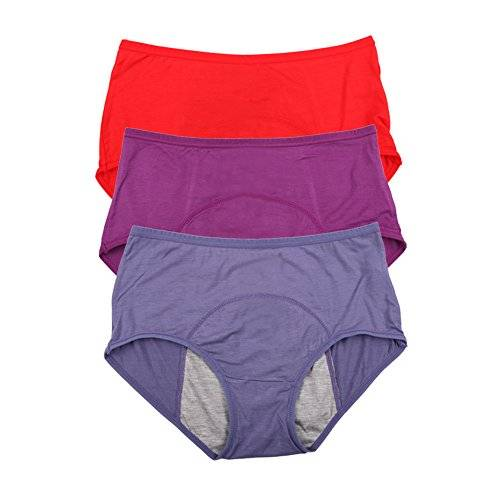 Es viscosa de bamb breve perodo fisiolgico bragas estancos Multi Pack Tamao 36-44 (36, Red,Purple,Denim blue)