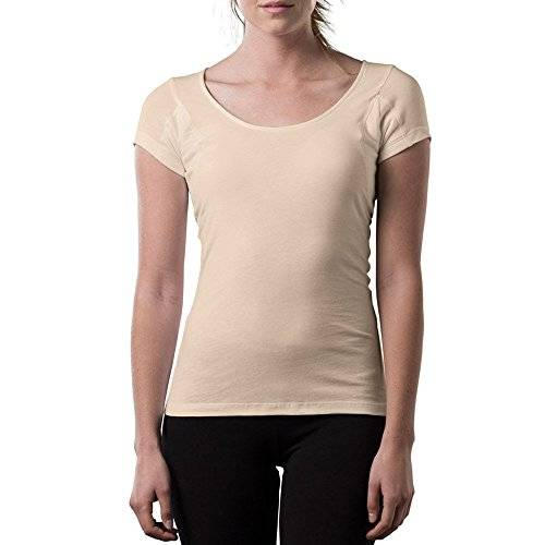 Tee Thompson Tee Sweat Proof Undershirts for Women, with Anti-Microbial Underarm Sweat Pads, Original Fit, Scoop - Beige -