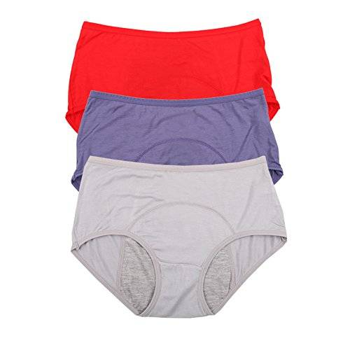 Es viscosa de bamb breve perodo fisiolgico bragas estancos Multi Pack Tamao 36-44 (40, Red,Denim blue,Gray)