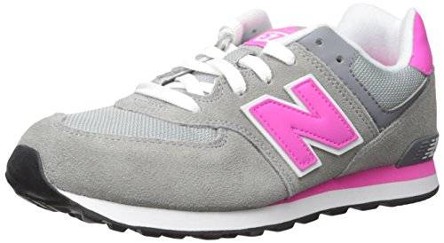 New Balance Youths 574 Classics Traditionnels Grey Pink Suede Trainers 39 EU