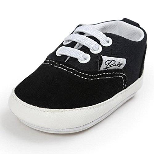 HCFKJ Baby Girl Boys Canvas Shoe Casual Shoes Sneaker Anti-Slip Soft Sole Toddler (12, Negro)