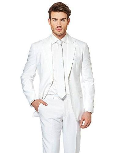 OppoSuits White Knight Solid White Suit For Men Coming With Pants, Jacket and Tie - 100% Money Back Guarantee