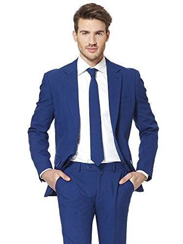OppoSuits Navy Royale Solid Navy Blue Suit For Men Coming With Pants, Jacket and Tie - 100% Money Back Guarantee