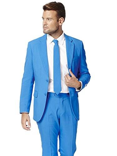 OppoSuits Blue Steel Solid Blue Suit For Men Coming With Pants, Jacket and Tie - 100% Money Back Guarantee