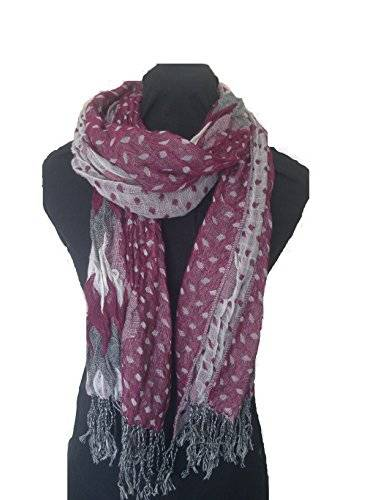 Pamper Yourself Now ltd Bufanda elástico rosa, blanco y gris con diseño diamante. -- Pink, white and grey chunky diamond design stretchy scarf