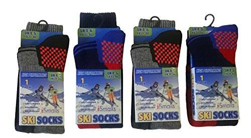 i-Smalls Boy's Kid's Pack of 4 Thermal High Performance Ski Socks with Extra Cushioning (9-12)