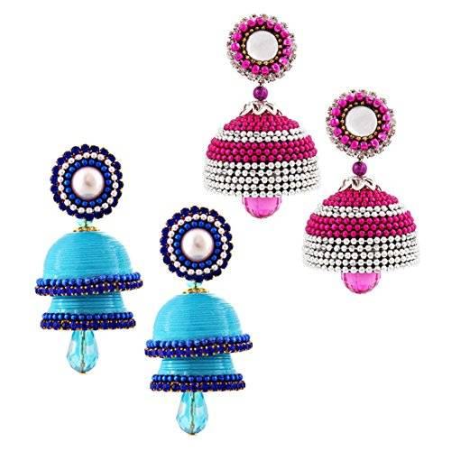 Radha Krishna Shop Combo of Two Paper Quilling Multicolor Earrings