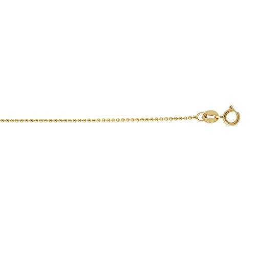 Luxurman 14k Yellow Solid Gold 1.5mm wide Shiny Bead Chain 18