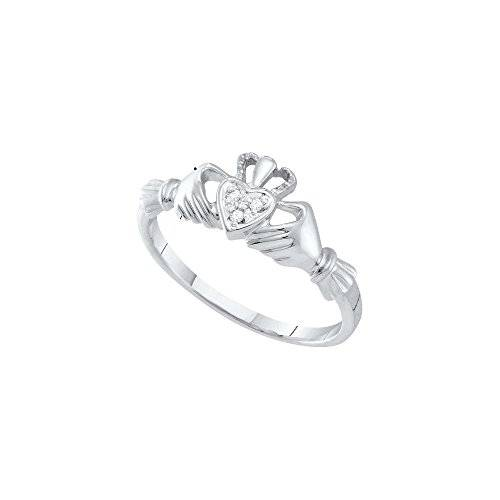 Jewels By Lux 10 kt oro blanco para mujer redondo diamante Claddagh Anillo Corazón .01 quilates = 0,01 quilates (I2-I3 claridad, J-K Color)