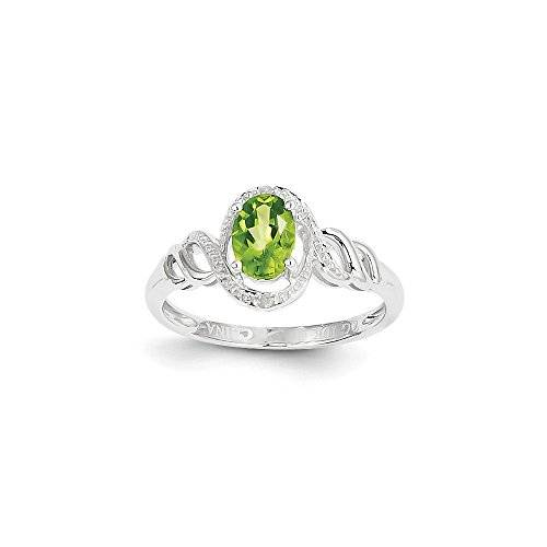 Jewels By Lux 10 K oro blanco Peridot anillo de diamante quilates. 0,02, Gem quilates. 0,82