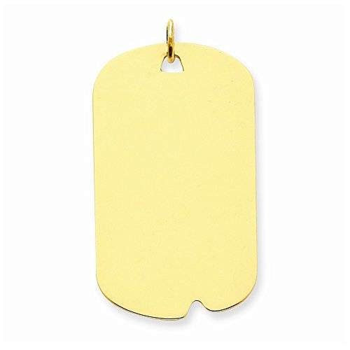 UK Gems 14k Llanura 0.035 Gauge Charm Disc Dog Tag Engravable - 14k Plain .035 Gauge Engravable Dog Tag Disc Charm