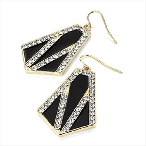 Style My Outfit Ladies Fashion Pendientes de cristal negro y dorado