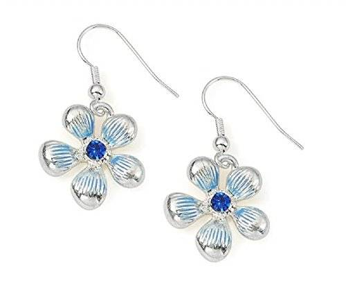 I Heart Fashion Accessories Color azul cristal de plata pendientes de gota