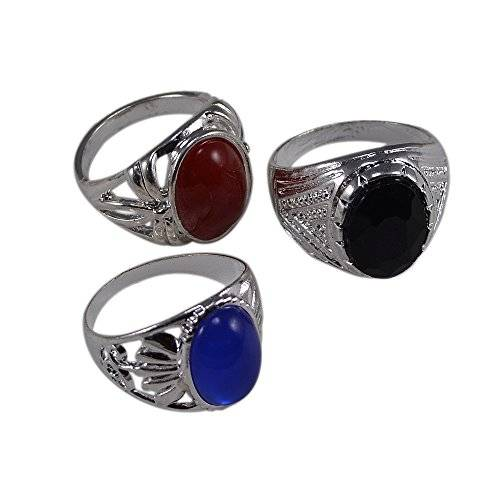 Silvestoo India Black, Blue & Red Stone Ring Sz 7.75 To 10.75 PG-113520