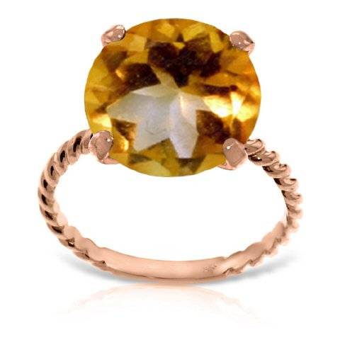 QP Jewellers Anillo de citrino Natural en joyería QP 9ct oro Color de rosa - corte redondo 5.50ct 5482R