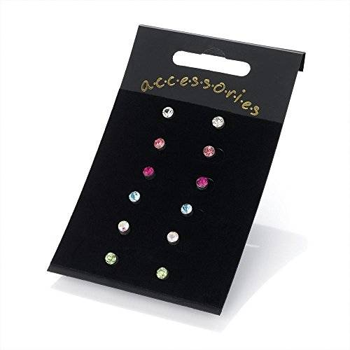 Unbranded Six pairs 4mm assorted colour stud earring set