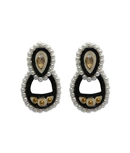 charvee Multicolor Quilling Pearl Studded oval- lapón pendientes (diseño -1)