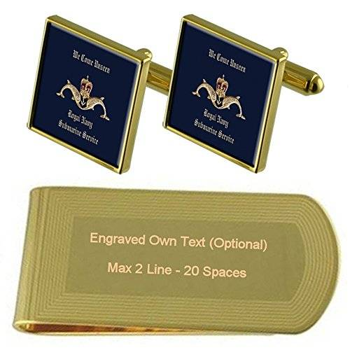 Select Gifts Servicio submarino insignia de tono Oro gemelos Money Clip grabado Set de regalo