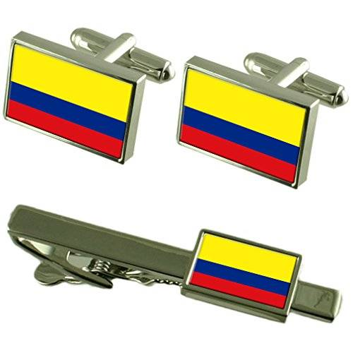 Select Gifts Clip de corbata gemelos Bandera Colombia Matching Box Set de regalo