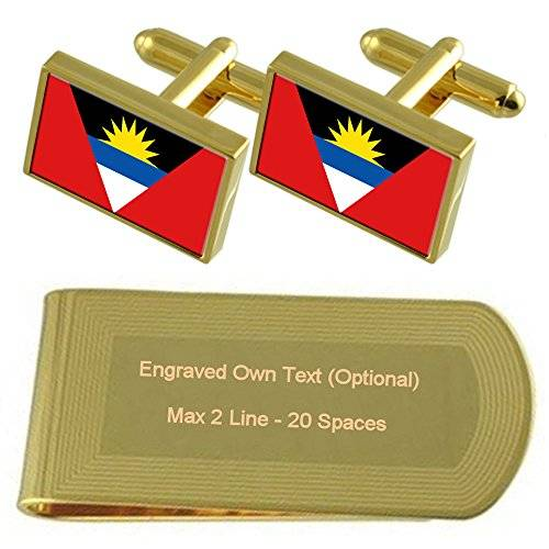 Select Gifts Antigua y Barbuda Bandera tono Oro gemelos Money Clip grabado Set de regalo