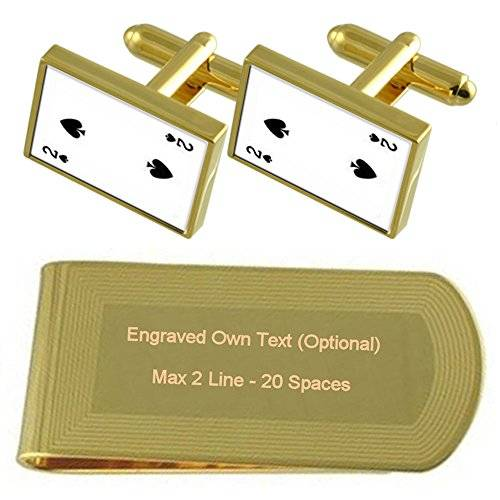 Select Gifts Picas Naipe número 2 tono Oro gemelos Money Clip grabado Set de regalo