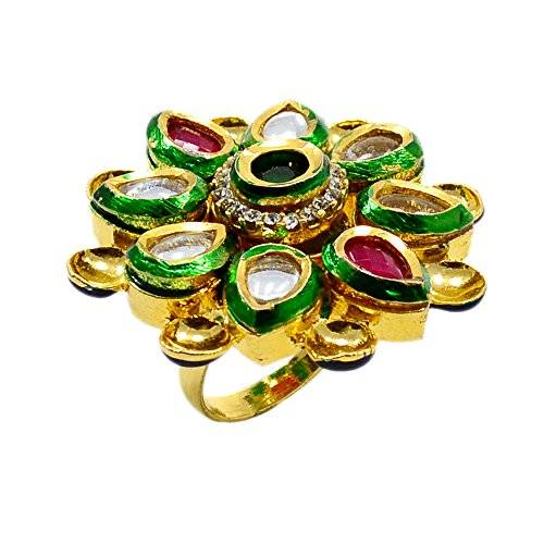 Silvestoo India Ruby, Emerald (Created) & Cubic Zircon Gold Plated Ring Sz 7 Adjustable PG-122517