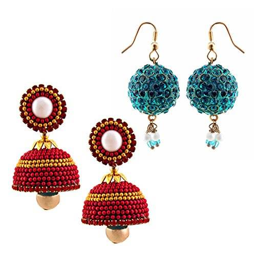 Radha Krishna Shop Two Handmade Multicolor Earrings Set