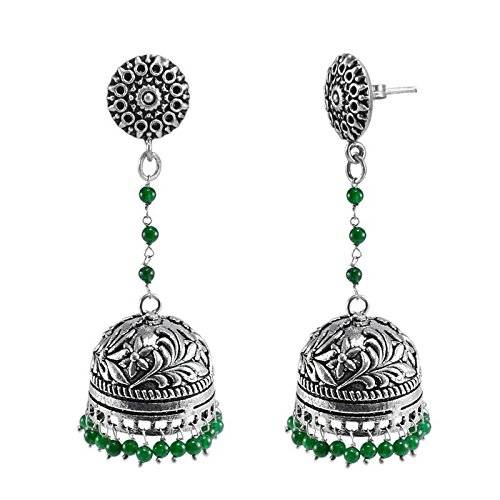 Silvestoo India Oxidized Metal Green Quartz Round Jhumki Earrings-Tribal jewellery PG 117202
