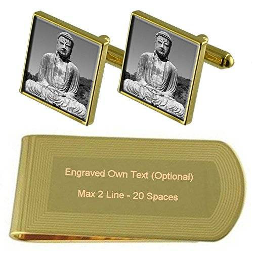 Select Gifts Gran Budha tono Oro gemelos Money Clip grabado Set de regalo