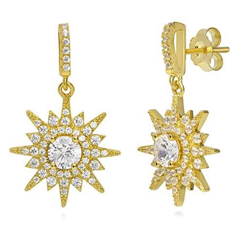 BERRICLE Yellow Gold Flashed Sterling Silver Cubic Zirconia CZ Starburst Dangle Drop Earrings