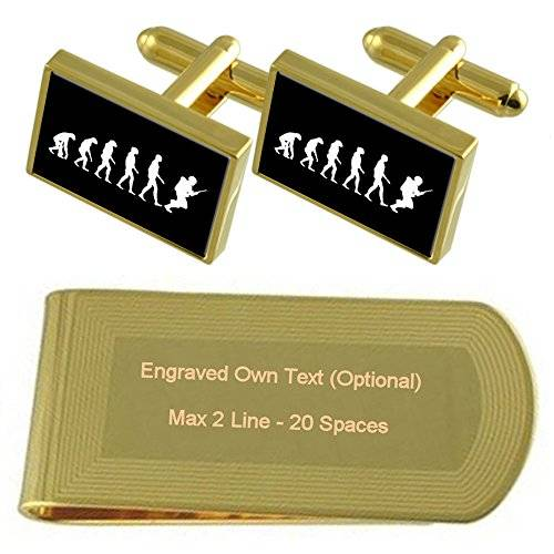 Select Gifts Evolución Ape Man soldado tono Oro gemelos Money Clip grabado Set de regalo