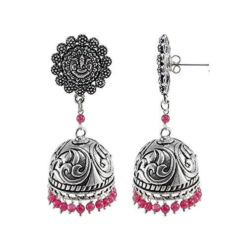 Silvestoo India Tribal Collection By Silvestoo India-Large Silver Jaipuri Jhumka Earrings Jewlery With Pink Quartz And Ganesha Studs PG-108009
