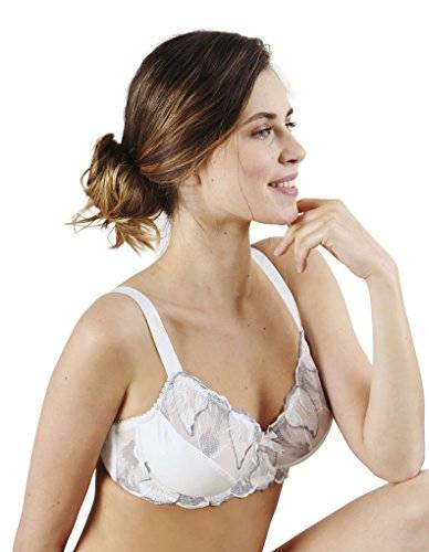 Guy de France 18659-4 Ivory and Grey Embroidered Underwired Non-Padded Bra 46E UK