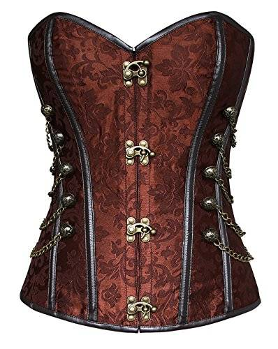 Charmian Women's Spiral Steel Boned Steampunk Gothic Bustier cors with Chains Brown Medium