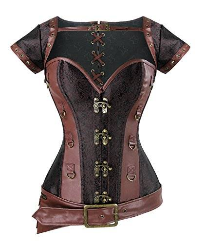 Charmian Women's Spiral Steel Boned Steampunk Retro Brocade and Leather Overbust cors with Jacket and Belt Light-Brown XX-Large