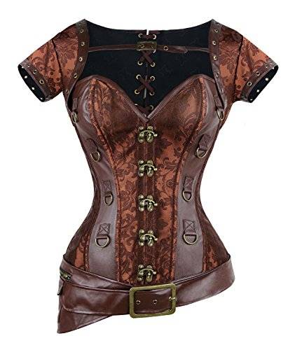 Charmian Women's Spiral Steel Boned Goth Retro Overbust Steampunk Bustier cors Brown XX-Large