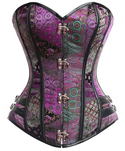 Charmian Women's Steampunk Gothic Brocade Steel Boned Bustier cors with Buckle Purple XXX-Large