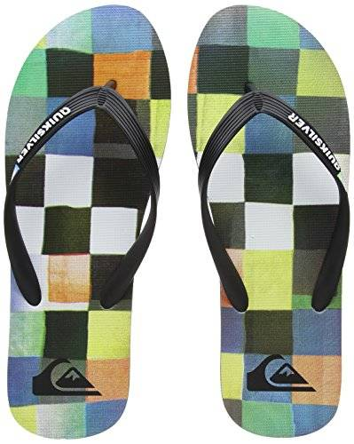 Quiksilver Molokai Resin Check, Chanclas para Hombre, Multicolor (Black/Blue/Green-Combo Xkbg), 45 EU