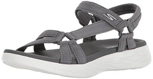 Skechers On-The-Go 600-Brilliancy, Sandalia con Pulsera para Mujer, Gris (Charcoal), 36 EU