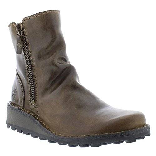 Fly London Womens Mong 944 Olive Leather Boots 37 EU