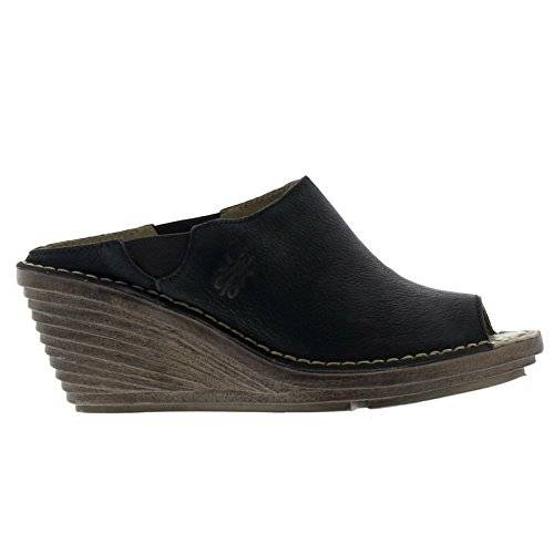 Fly London Womens Sian658Fly Black Leather Sandals 38 EU