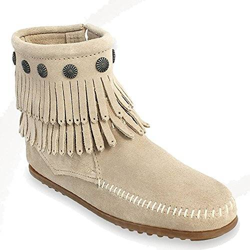 Minnetonka Double Fringe Side Zip Boot, Mujer Botas, color gris, talla 37.5 EU