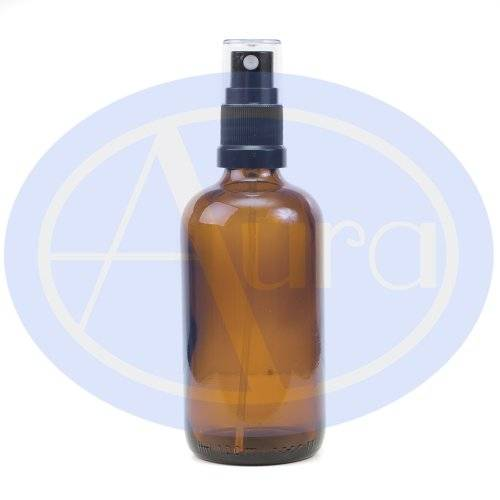 Aura Essential Oils 100ml AMBER GLASS Bottle with Black ATOMISER Spray. Essential Oil / Aromatherapy Use.