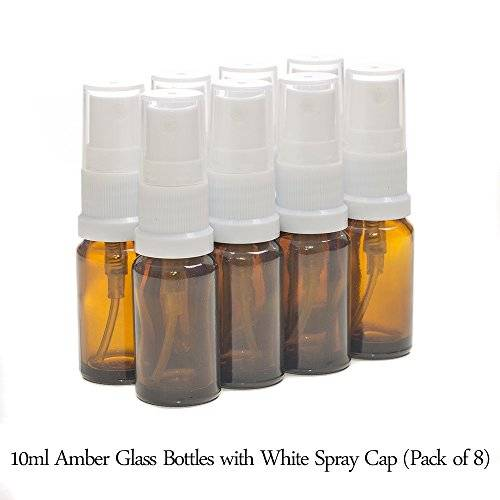 Aura Essential Oils 10ml AMBER Glass Bottles with WHITE Sprays - PACK of 8