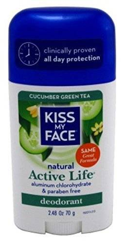 Kiss My Face Active Life Stick Deodorant, Cucumber Green Tea - 2.48 Ounce, 3 Pack by Kiss My Face